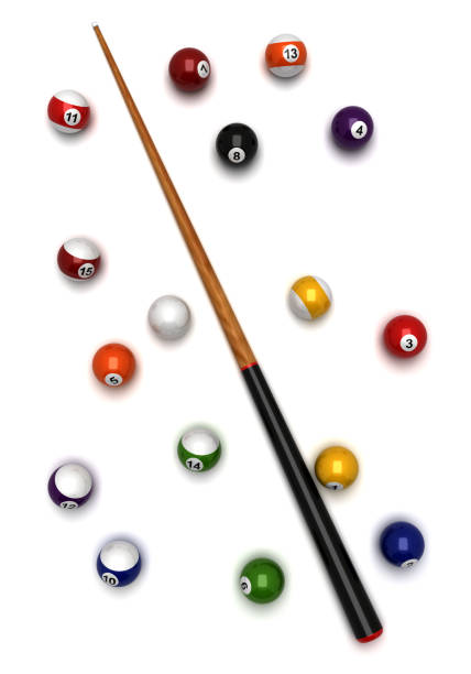 billiard balls and cue - pool cue stock photos and pictures