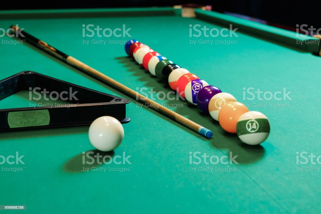 Billiard balls are lined up on a billiard table, American billiards. Sports games, outdoor activities. stock photo