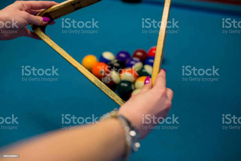 Billiard balls arranged in a triangle viewed from above royalty-free stock photo