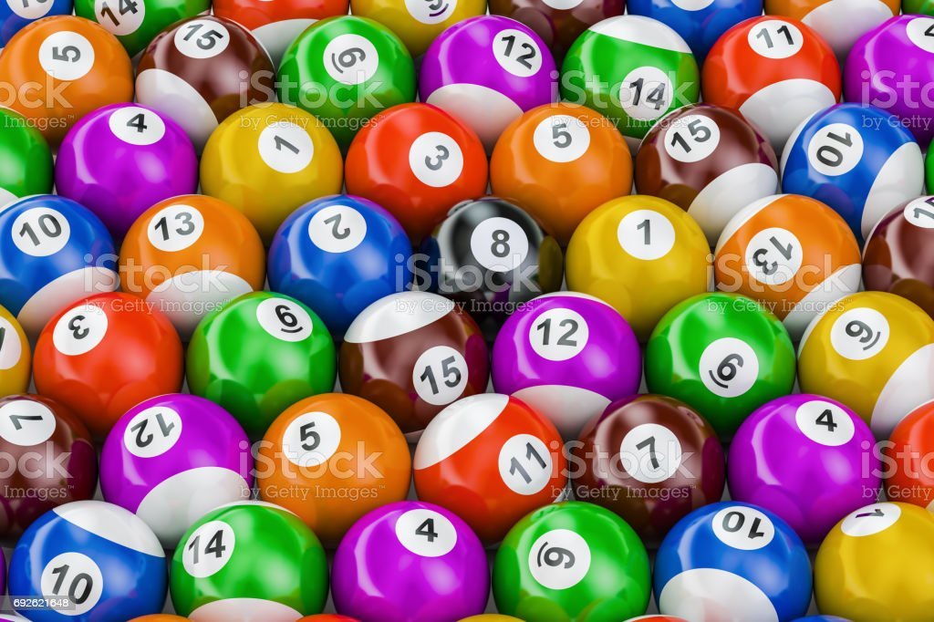 Billiard balls colorful background, 3D rendering stock photo