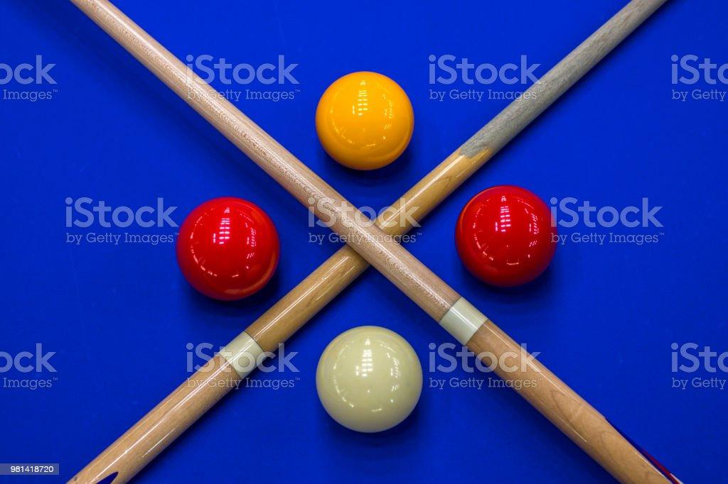 Billiard balls, cue in a blue pool table - fotografia de stock