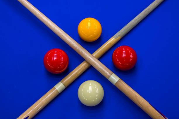 billiard balls, cue in a blue pool table - competition group stock photos and pictures