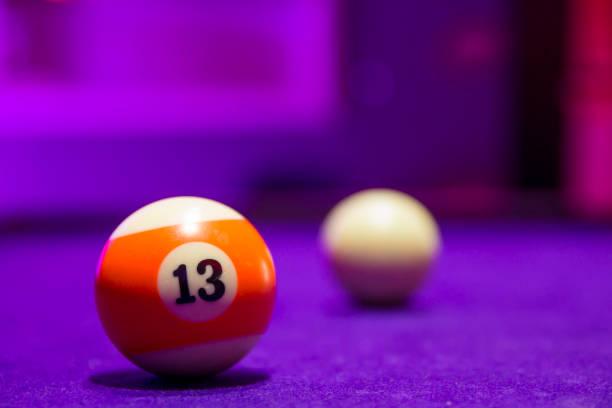 Billiard balls in a pool table stock photo