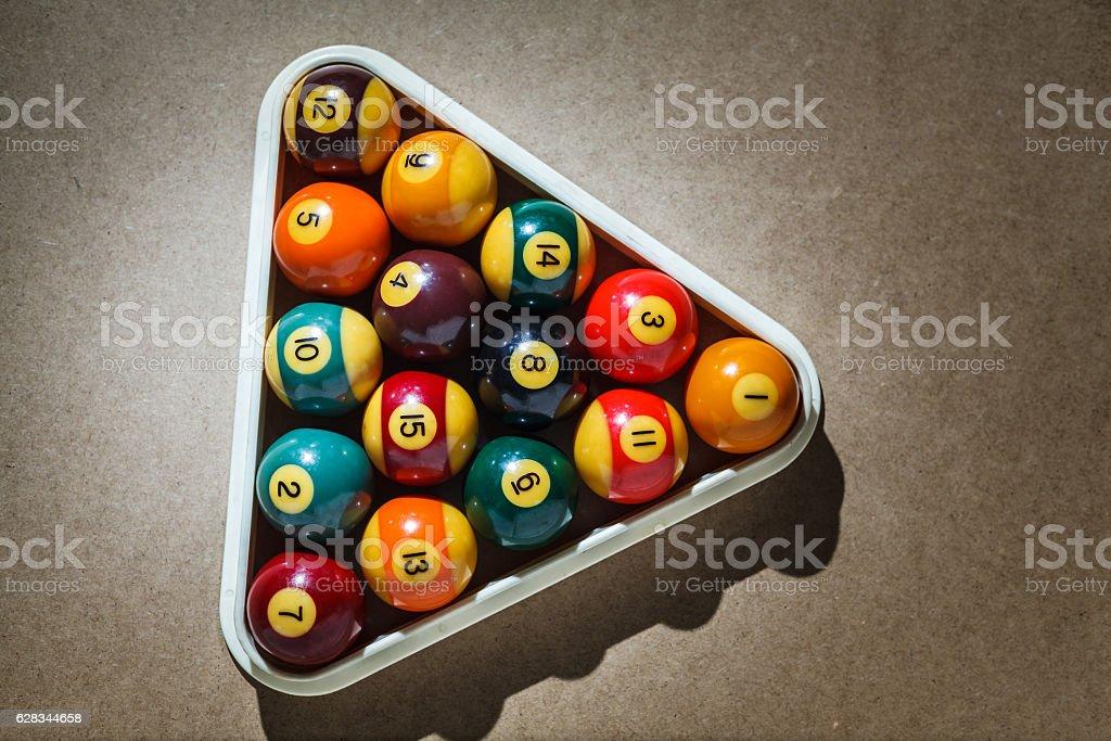 Billiard balls in the triangle - foto de stock