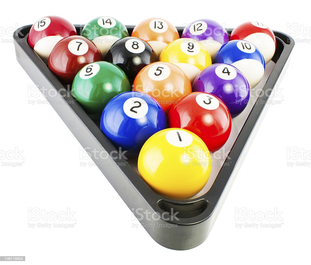 billiard balls in triangle royalty-free stock photo