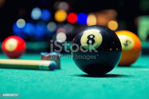 A Vintage style photo from a billiard balls in a pool table. Noise added for a film effect