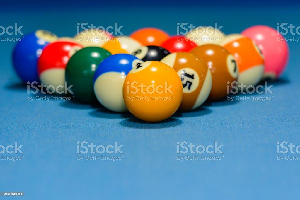 Billiard balls racked for 8 ball pool game stock photo
