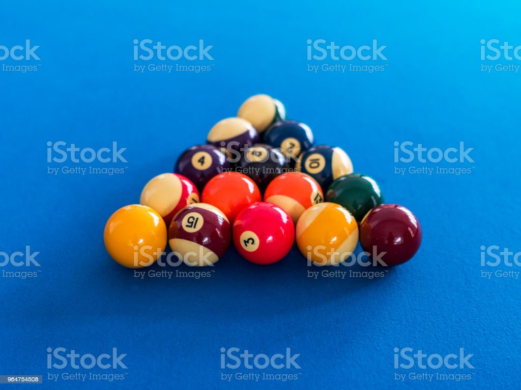 Billiard balls setup on a pool table royalty-free stock photo