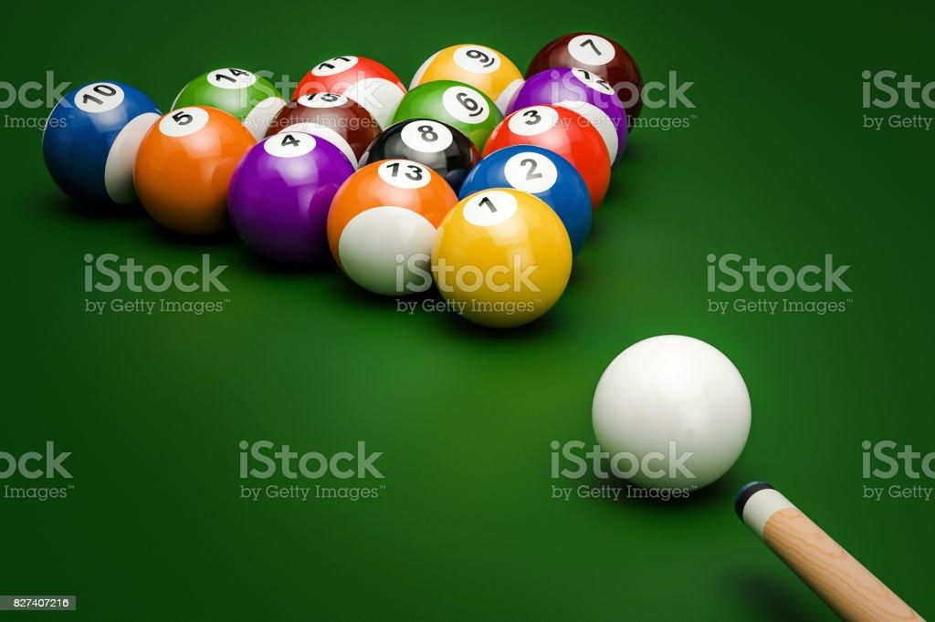 Bolas de billar con el taco en la mesa verde, 3D rendering - foto de stock