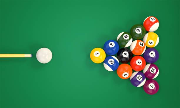 billiard cue and pool balls - pool cue stock photos and pictures