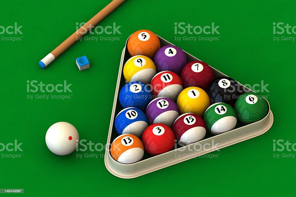 Billiard set on green stock photo