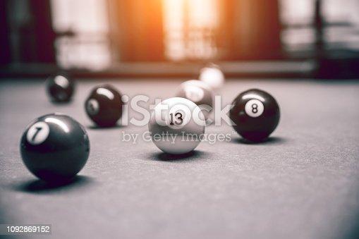 istock Billiard snooker balls on table 1092869152