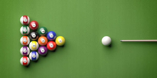 billiard table, pool balls set on green felt. 3d illustration - cue ball stock pictures, royalty-free photos & images