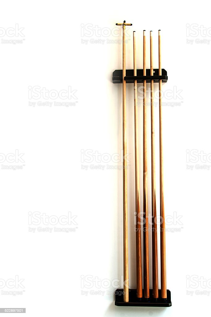 billiard wood stick set on the wall stock photo