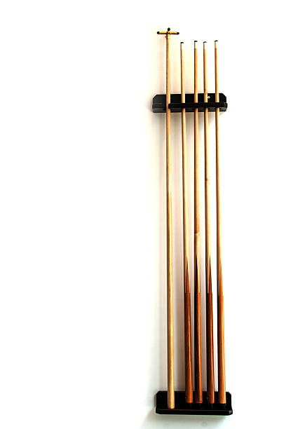 billiard wood stick set on the wall - pool cue stock photos and pictures