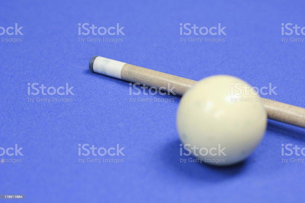 Billiards Cue Stick and Ball stock photo