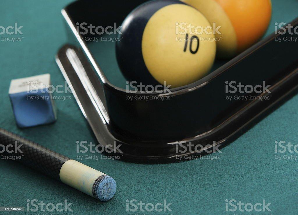 Billiards Pool Hall Close-Up Cue Chalk Rack Balls royalty-free stock photo