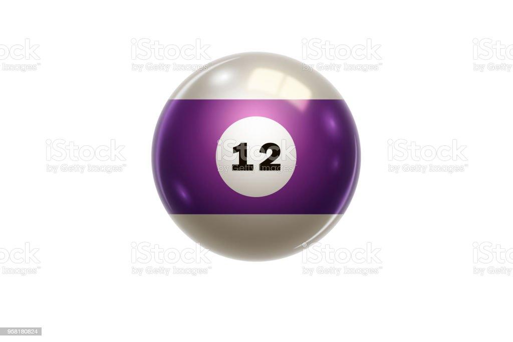 Fotografía de Billar Bola De La Púrpura En El Número 12 Doce Aislado ... f675555f95999