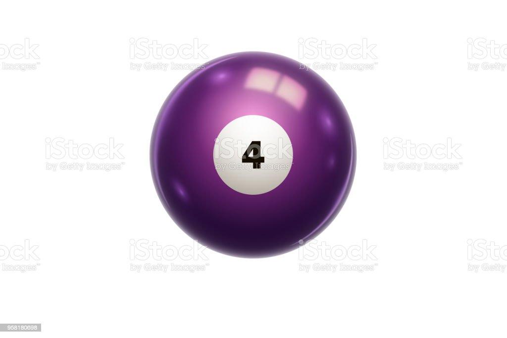 Fotografía de Billar Bola De La Púrpura En Número 4 Cuatro Aislado ... f3976eac02bc1