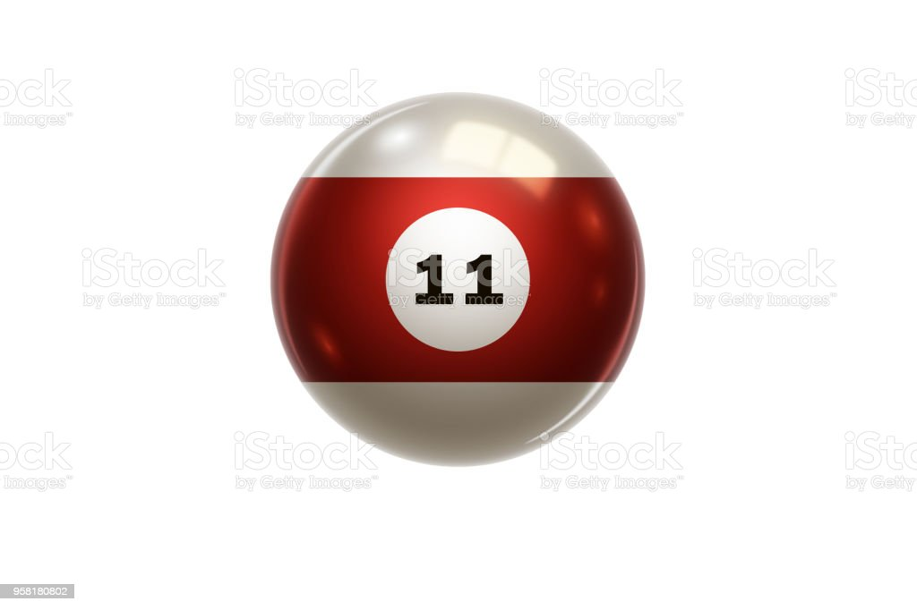 Billiards Red Balloon At Number 11 Eleven Isolated On ...