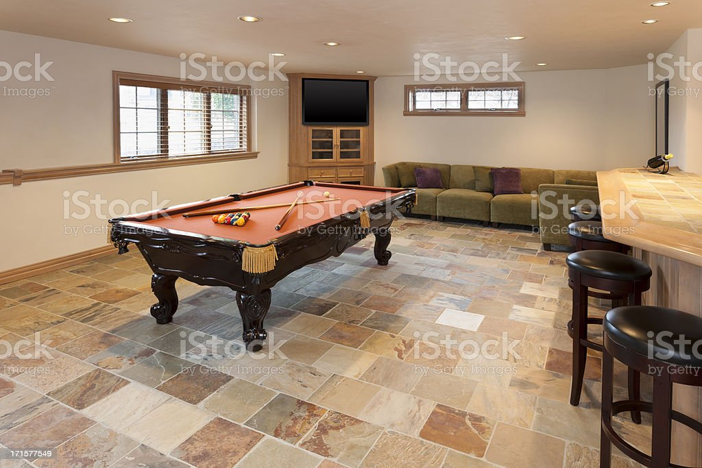 Billiards Room in Finished Basement stock photo