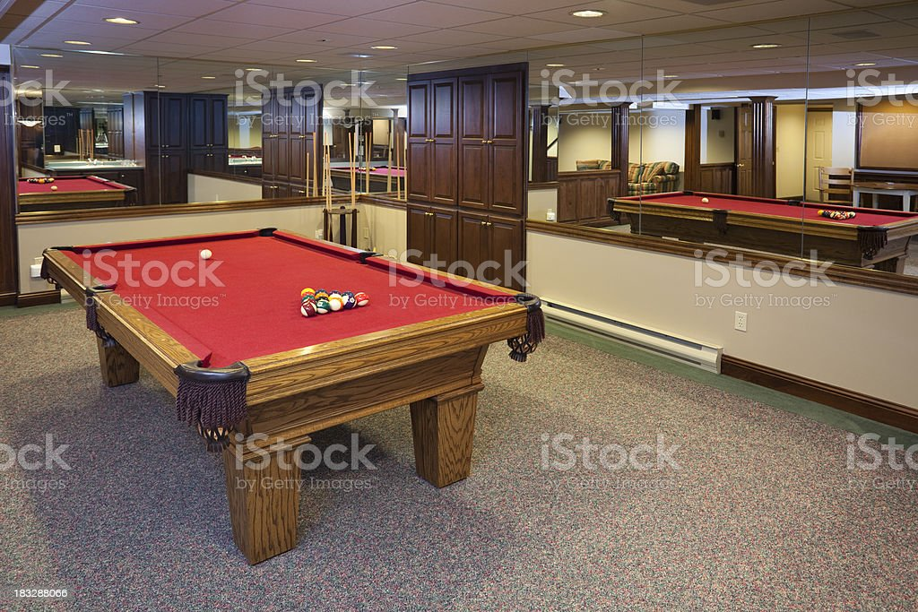 Billiards Room Looks Large With Mirrored Walls stock photo