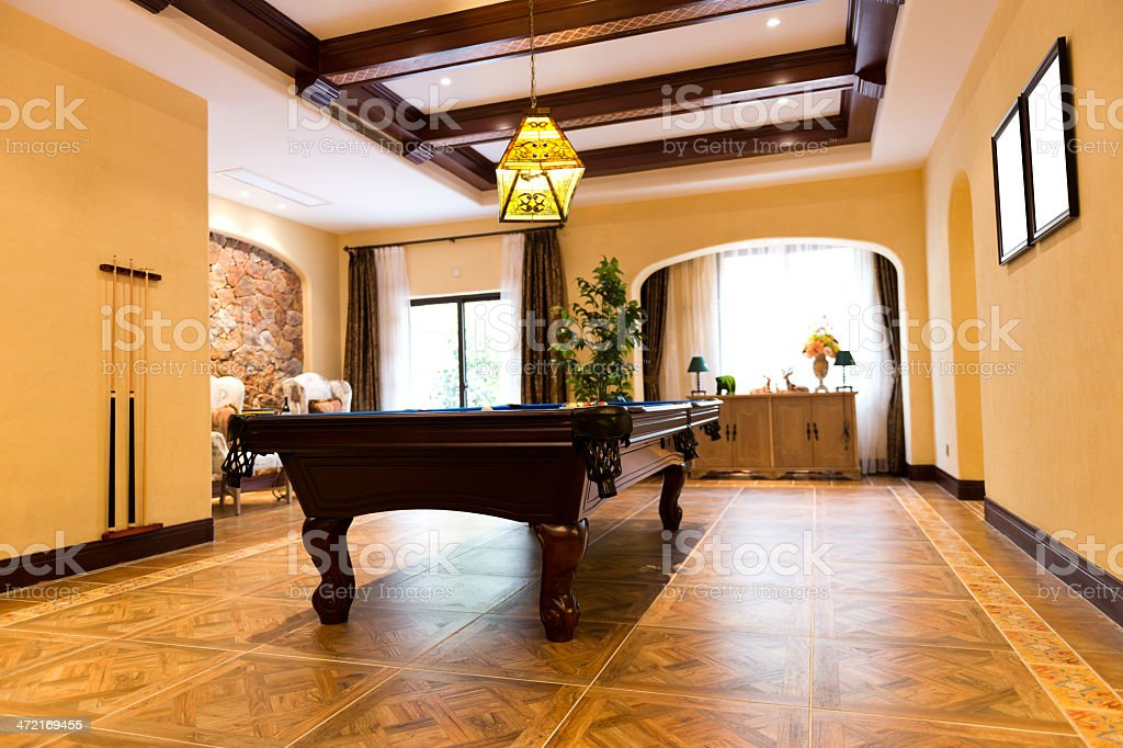 Billiards room stock photo