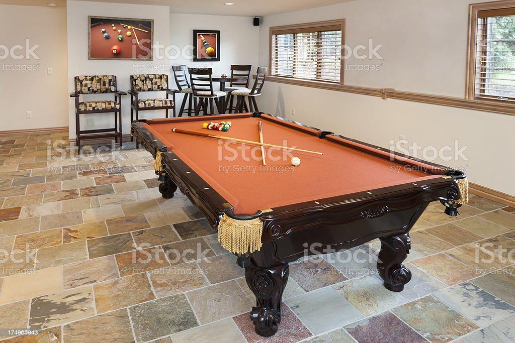 Billiards Room with Tile Floor stock photo