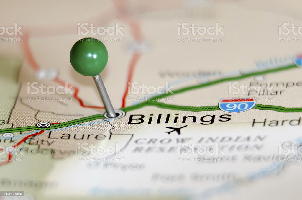 billings city pin on the map stock photo
