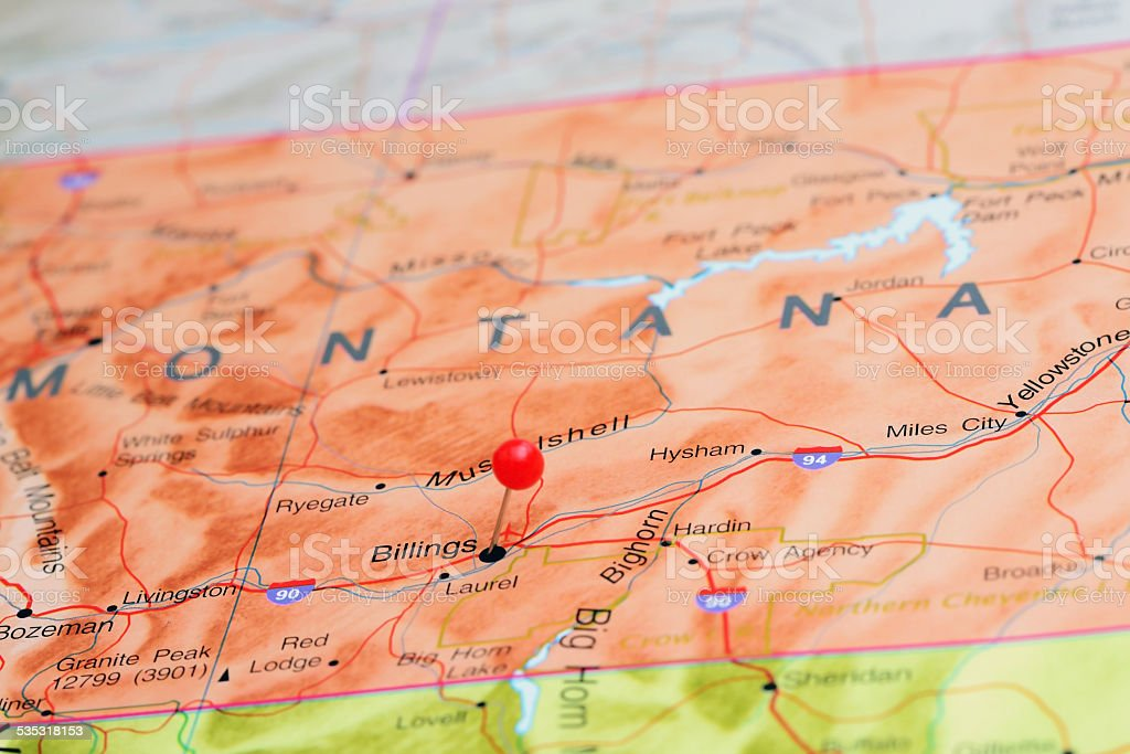 Billings pinned on a map of USA stock photo