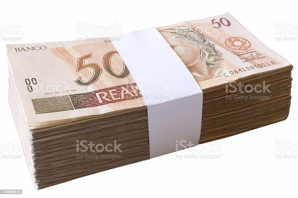 Bills, 50 Reais - Brazilian money royalty-free stock photo