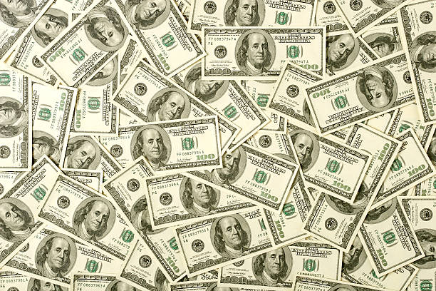 banknoty 100-dolarowe tle - duża grupa obiektów zdjęcia i obrazy z banku zdjęć