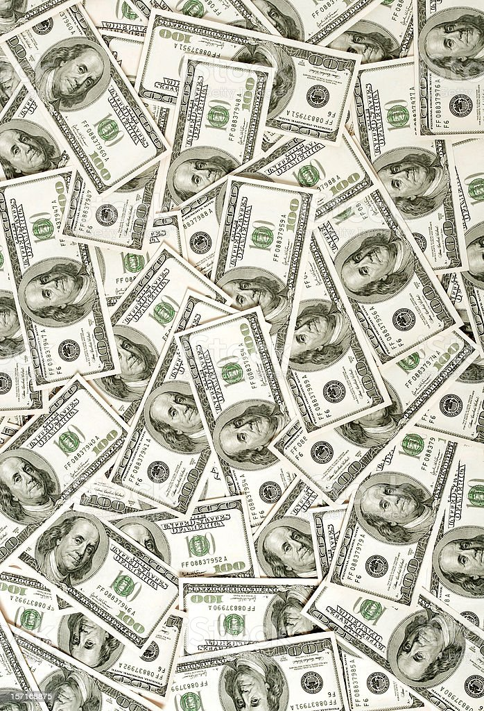 $100 bills background stock photo