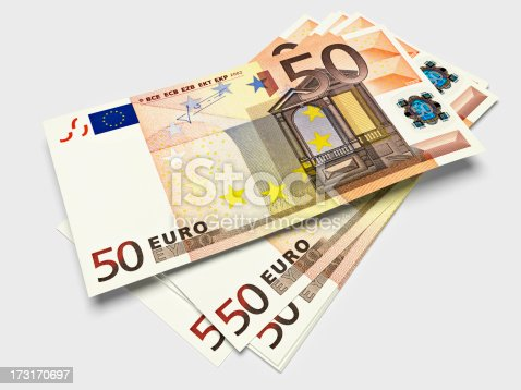 3D render of a stack of fifty Euros