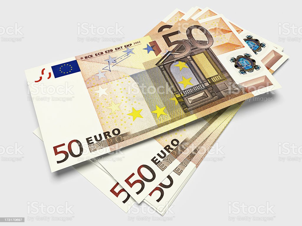 Bills of fifty Euros stock photo