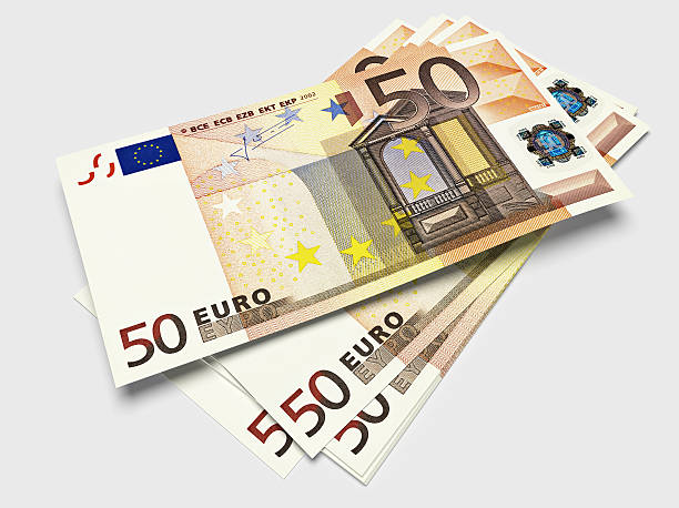 Bills of fifty Euros 3D render of a stack of fifty Euros fifty euro banknote stock pictures, royalty-free photos & images