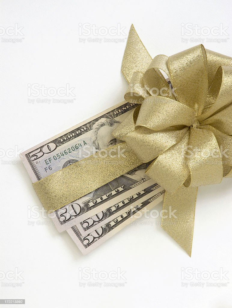 Bills with Gold Bow stock photo