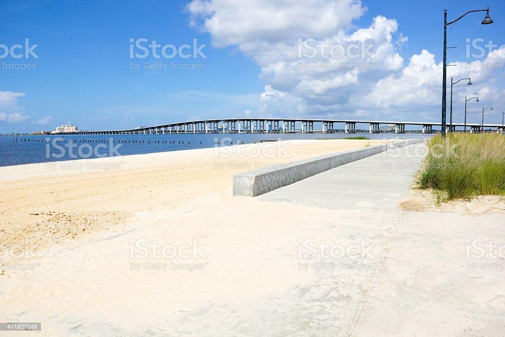Biloxi Bay Bridge viewed from Ocean Springs Beach royalty-free stock photo