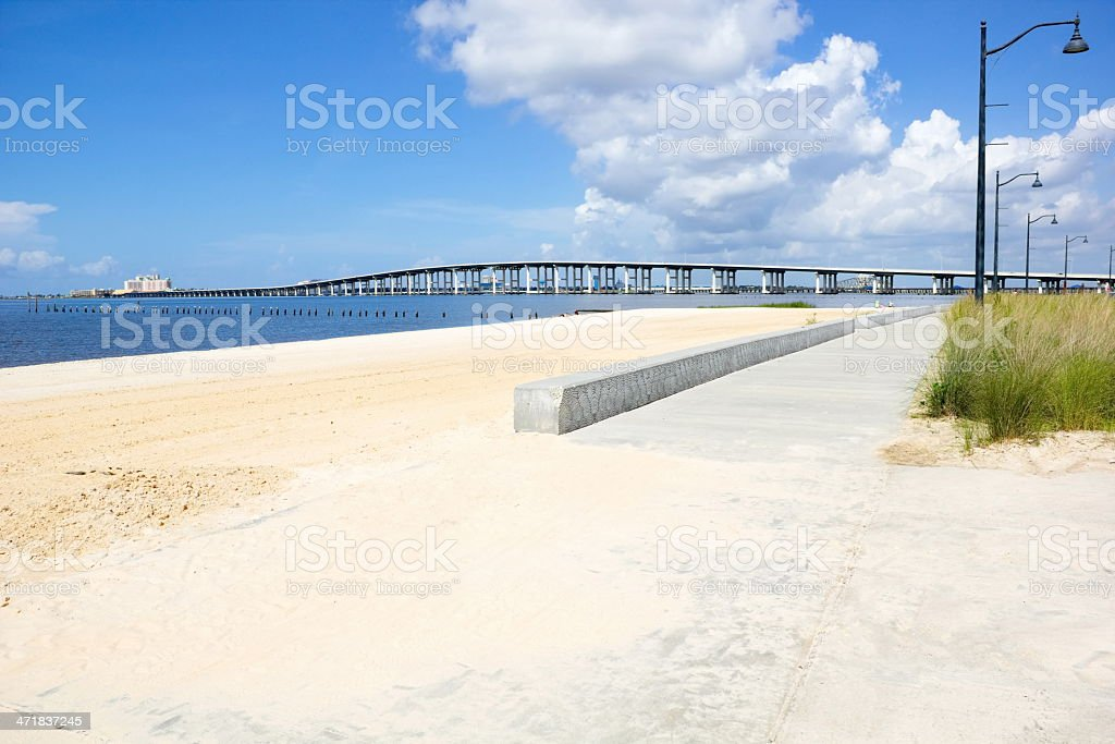 Biloxi Bay Bridge viewed from Ocean Springs Beach stock photo