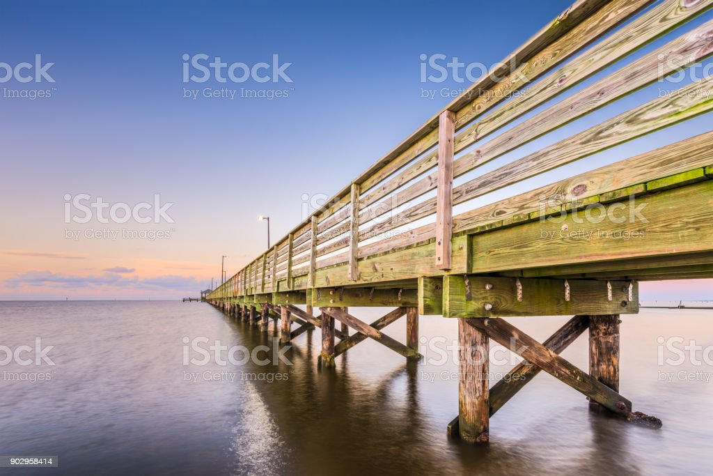 Biloxi Lighthouse Pier stock photo