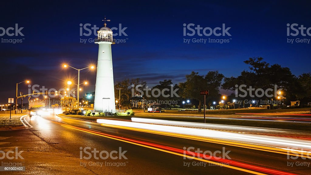 Biloxi, Mississippi Lighthouse at Night stock photo