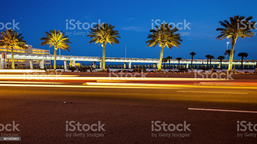 Biloxi, Mississippi Palm Trees and Traffic at Night stock photo