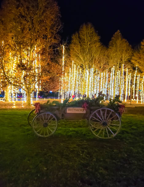 Biltmore Village Christmas Wagon stock photo