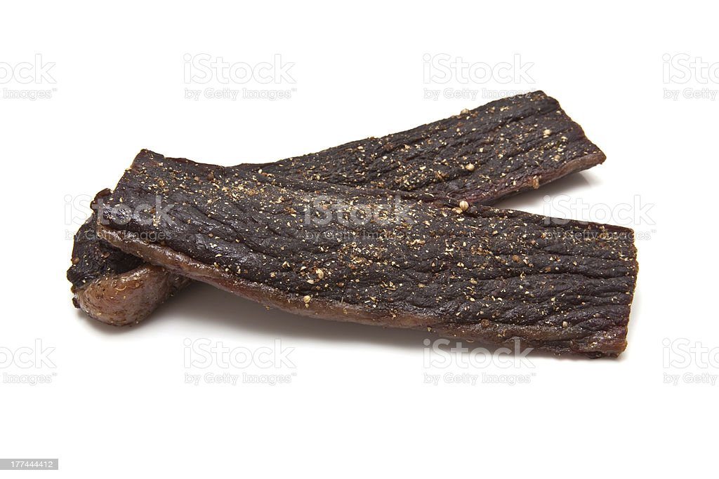 Biltong (dried beef jerky) stock photo