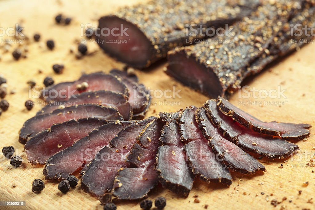 Biltong Sliced biltong - South African dry meat snack; can be smoked beef slices as well;  Beef Stock Photo