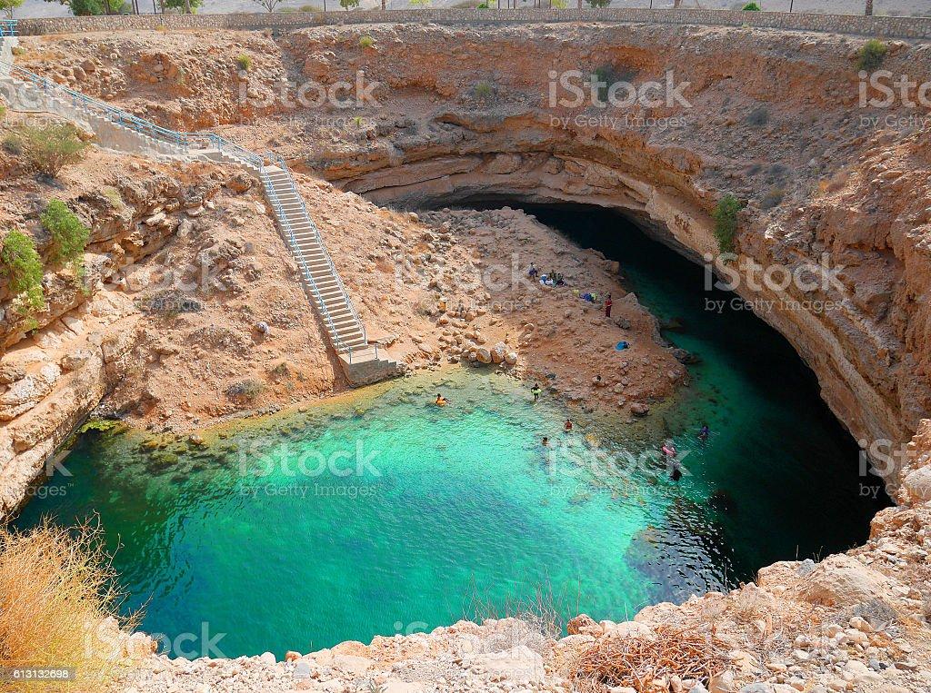 Bimmah sinkhole, Oman stock photo