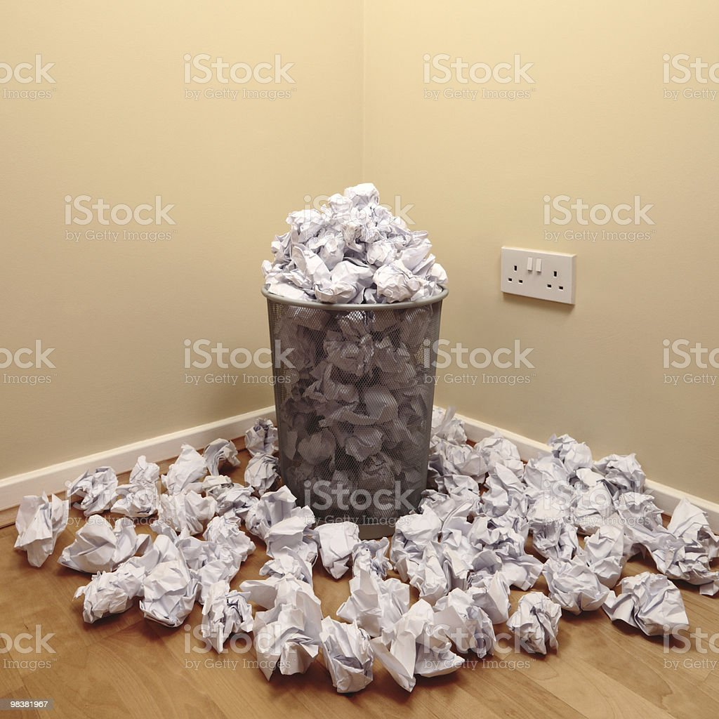 Bin and screwed up paper royalty-free stock photo