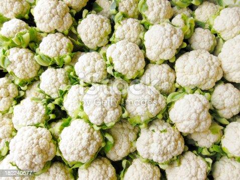Bin of Cauliflower Heads.