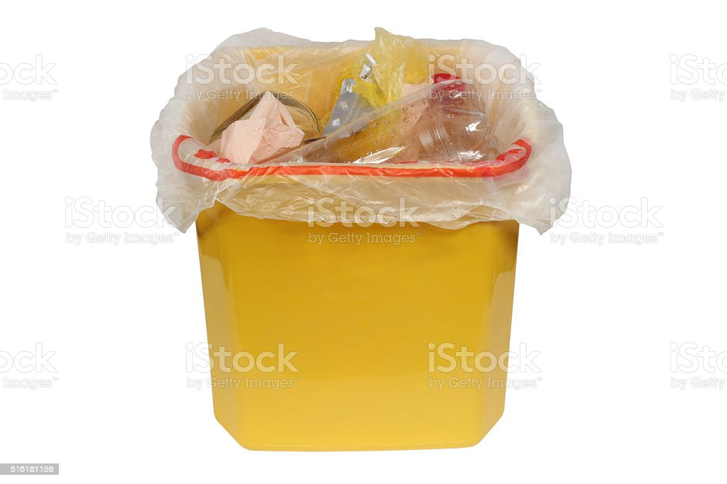 Bin with trash (Garbage bin) stock photo