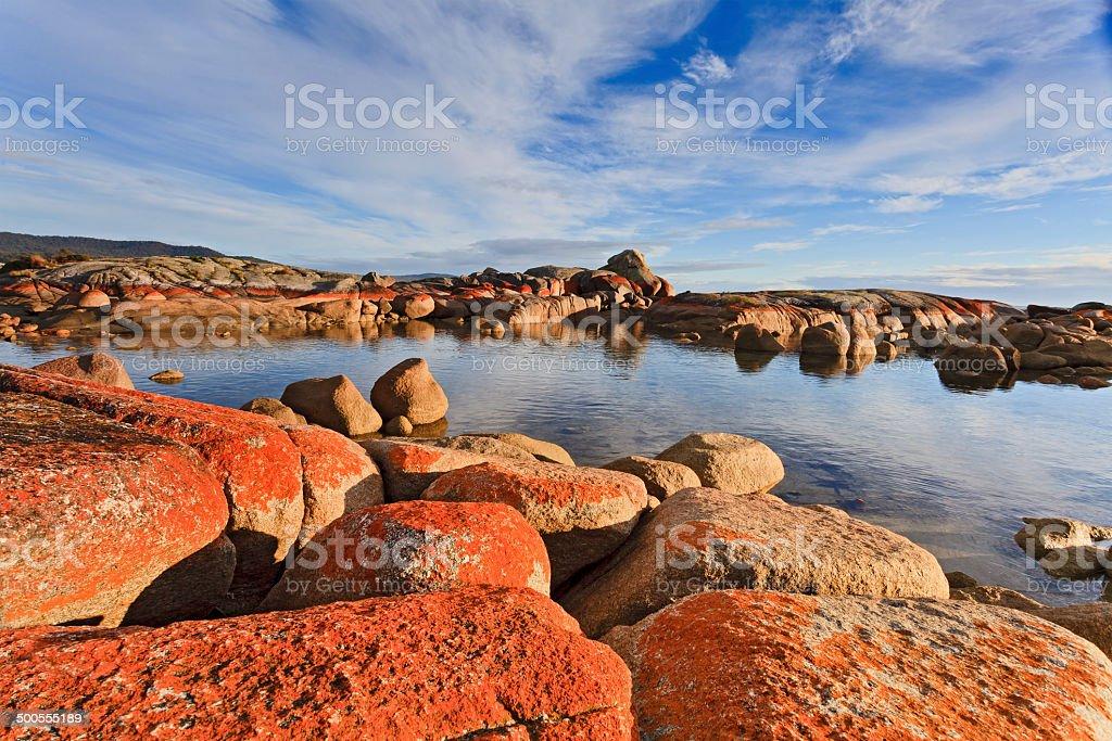 Binalong Bay Red Rocks Day stock photo